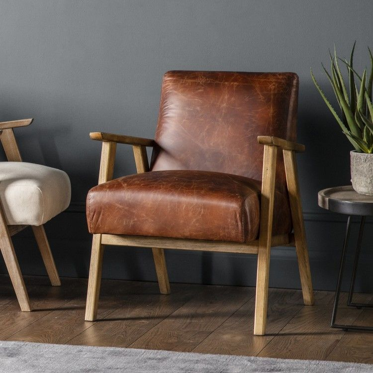 Neyland Vintage Brown Leather Armchair Modern Leather Armchair