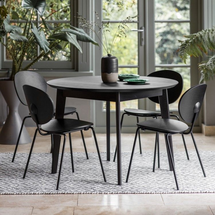 Forden Black Round Dining Table Round Modern Dining Table