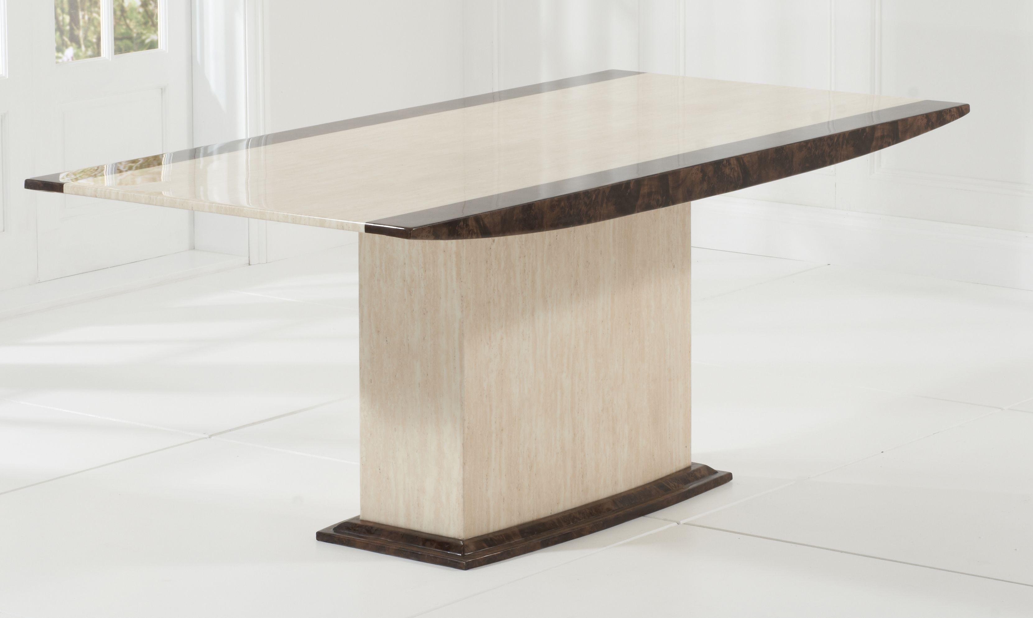 Alba 180cm Cream Brown Marble Dining Table