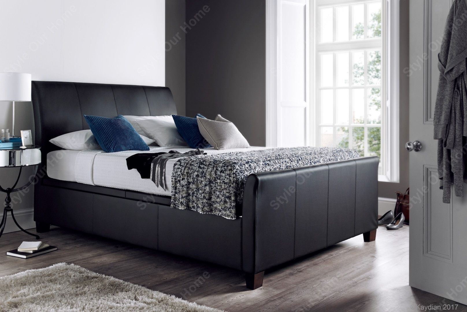 Picture of: Kaydian Allendale Ottoman Storage King Bed Black Leather Style Our Home