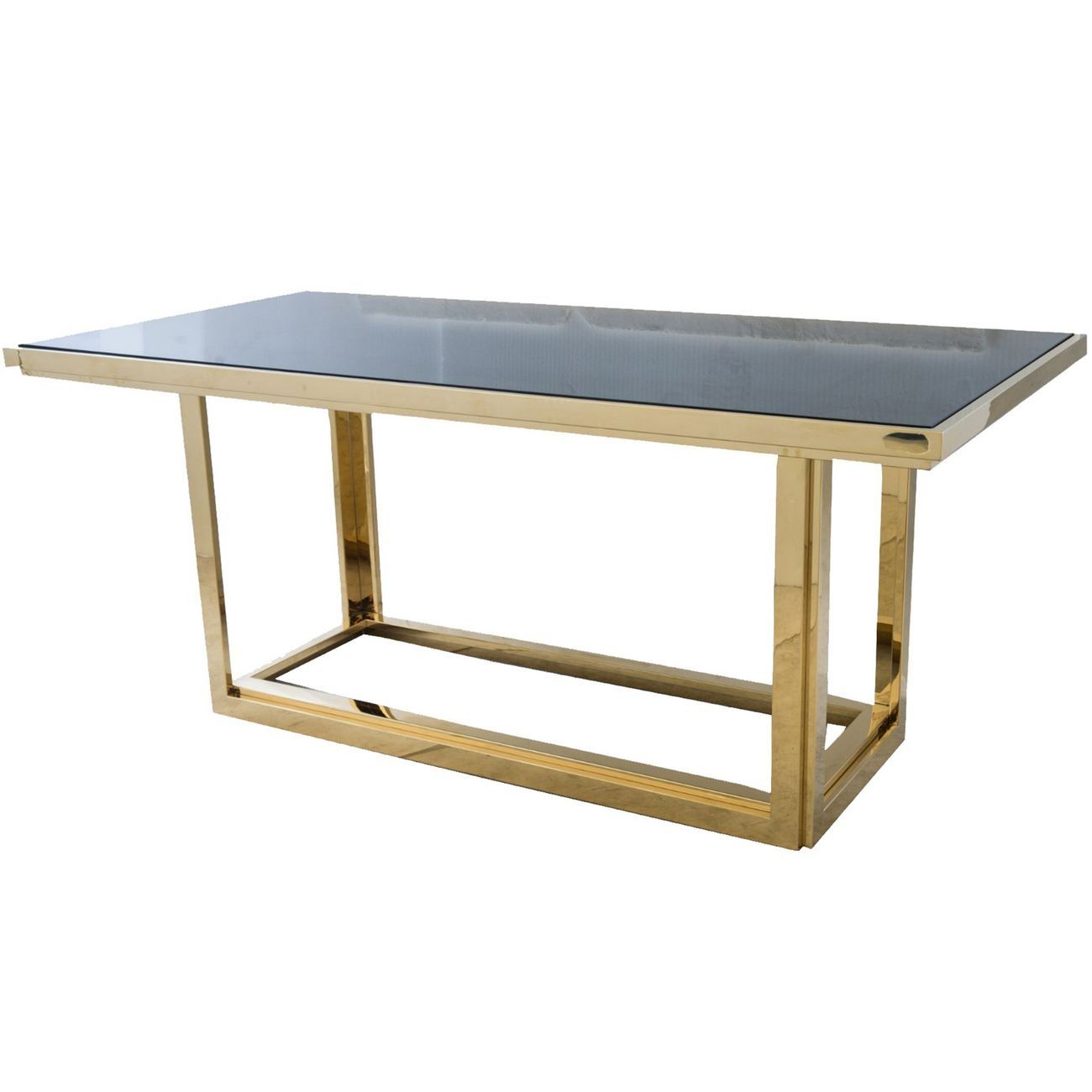 Gatsby Rectangular Gold Dining Table With Smoked Glass Libra Gold Dining Table With Smoked Glass Style Our Home