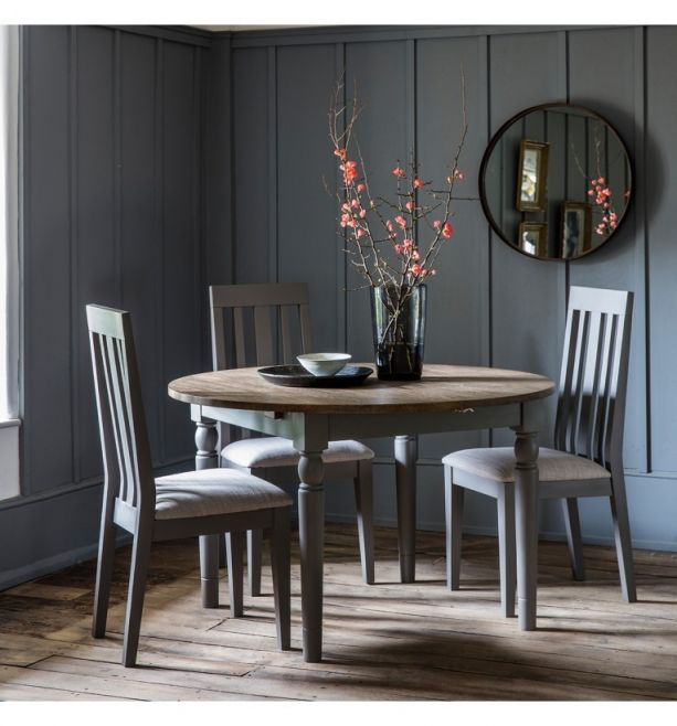 Cookham Grey 4 Seater Round Extending Dining Set Style Our Home