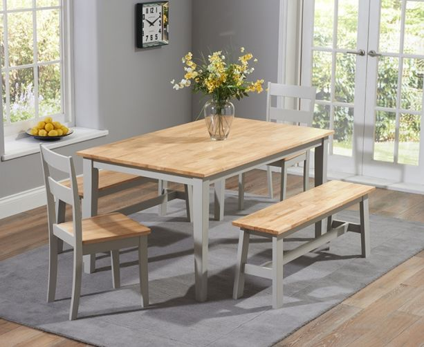 Chichester Grey Oak 6 Seater Dining Bench Set